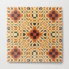 KEIKI retro pale yellow, orange, navy blue interesting pattern Metal Print
