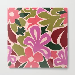 Abstract Floral in Green and Pink Metal Print