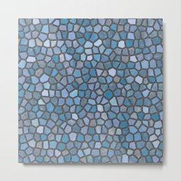 Blue Mosaic Pattern - Dark Metal Print