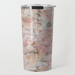 Vintage elegant blush pink collage floral typography Travel Mug