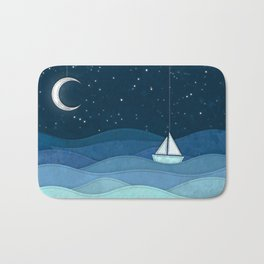 The Night Ocean Parade. Nautical Yacht Starry Night Digital Fabric Illustration. Bath Mat