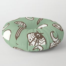 Witchy Vintage Pattern - Green Floor Pillow