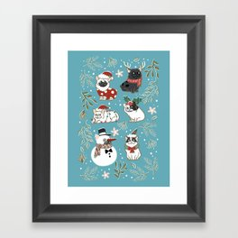 Christmas French Bulldog Framed Art Print