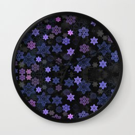 Christmas Snowflakes at Night Wall Clock