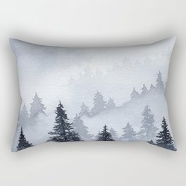 Misty Forest Watercolor Rectangular Pillow