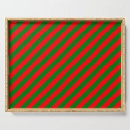 Red and Green Christmas Candycane Stripes Serving Tray