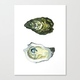 Watercolor Atlantic Oysters #1 by Artume Canvas Print