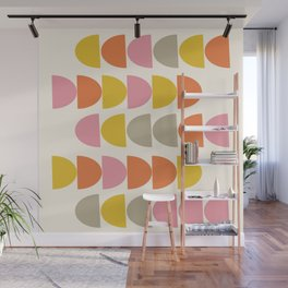 Cute Geometric Shapes Pattern in Pink Orange and Yellow Wall Mural