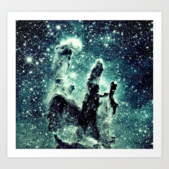 Nebula Galaxy : Teal Pillars of Creation Art Print