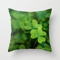 clover Throw Pillows featuring Clover by Michelle McConnell