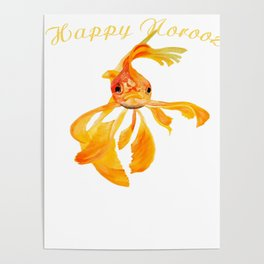 Happy Norooz Persian New Year Goldfish Isolated Poster