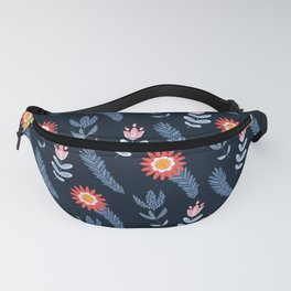 The stylized flowers of a camomile and hand bells Fanny Pack