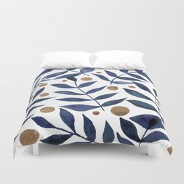 Watercolor berries and branches - indigo and beige Duvet Cover
