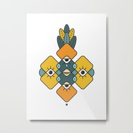 Five Eyes and Feathers Metal Print
