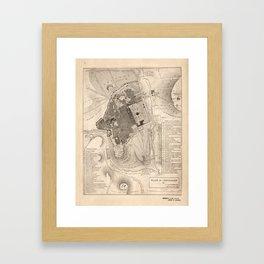 Vintage Map of Jerusalem Israel (1835) Framed Art Print