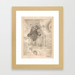 Vintage Map of Jerusalem Israel (1835) Framed Art Print