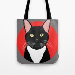 Tuxedo Cat Art Poster by Artist A.Ramos. Designed in Bold Colors. Perfect for Pet Lovers Tote Bag
