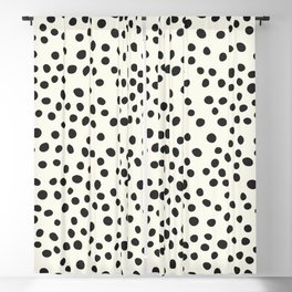 Black Decorative Dots on White, Minimalist line drawing, Modern art print with dots. Blackout Curtain