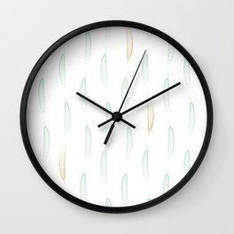 Feathers - Green & Gold #442 Wall Clock