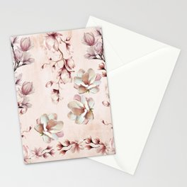 Watercolor Pink Magnolia Blossoms Stationery Cards