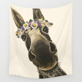 Cute Flower Crown Donkey, Up Close Donkey Art Wall Tapestry