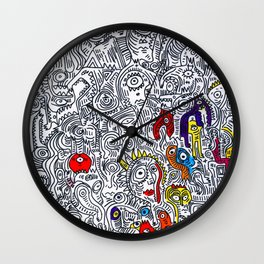 Pattern Doddle Hand Drawn  Black and White Colors Street Art Wall Clock