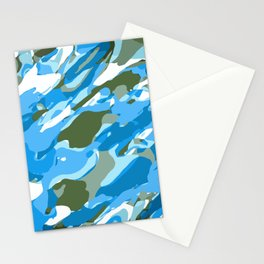 blue and green camouflage texture abstract background Stationery Cards