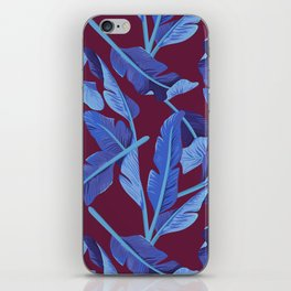 Tropical '17 - Blue Bird Of Paradise [Banana Leaves] iPhone Skin