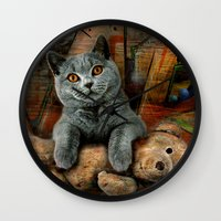 kpop Wall Clocks featuring Cat Diesel with teddybear ! by teddynash