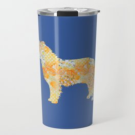 Border Collie Vintage Floral Pattern Orange Blue Yellow White Travel Mug