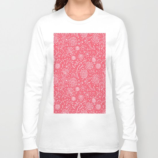 Red doodle floral pattern Long Sleeve T-shirt
