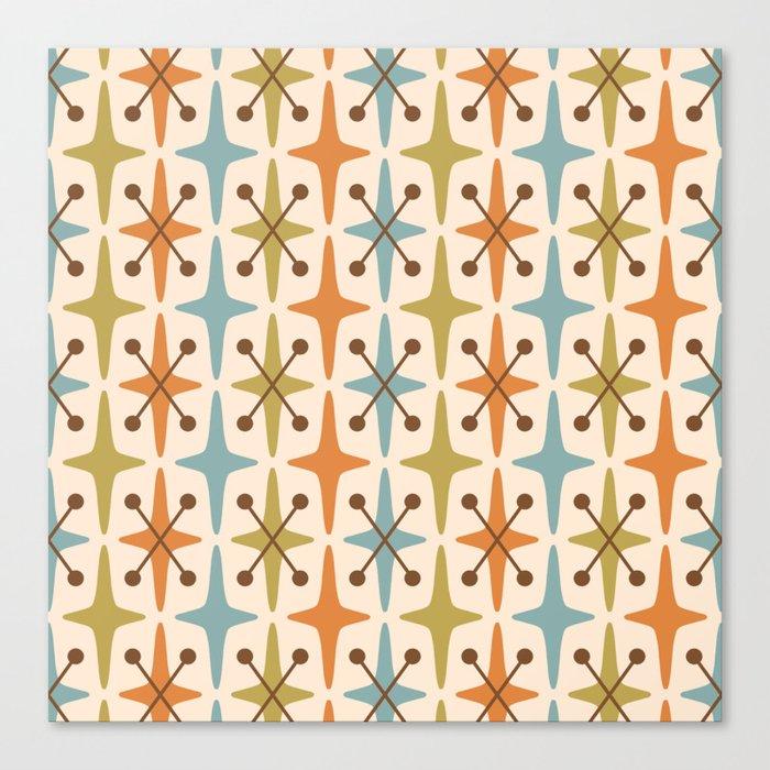 Mid Century Modern Abstract Star Pattern 441 Orange Brown Blue Olive Leinwanddruck