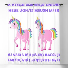 Funny vegan unicorn saying for kids. Blackout Curtain