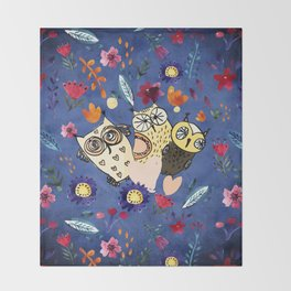 3 Wise Owls in Flower Garden at Night Throw Blanket
