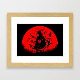 Red Moon Itachi Framed Art Print