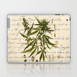 Marijuana Cannabis Botanical on Antique Journal Page Laptop & iPad Skin