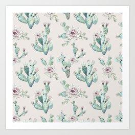 Pretty Cactus Rose Pattern Pale Pink + Green Art Print
