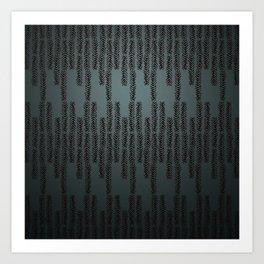 Eye of the Magpie tribal style pattern - dark teal Art Print