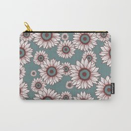 White Sunflowers Carry-All Pouch