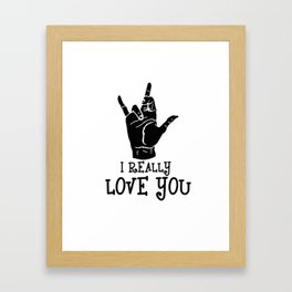 ASL design I really love you Gesture American sign Language Framed Art Print