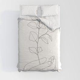 Minimal Hand Holding the Branch II Comforters