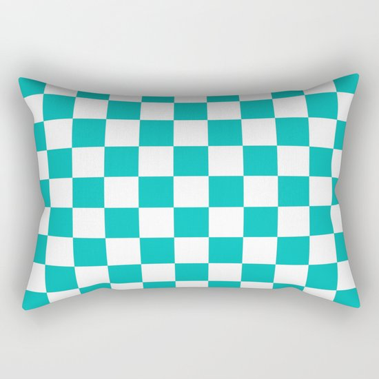 Checker (Tiffany Blue/White) Rectangular Pillow