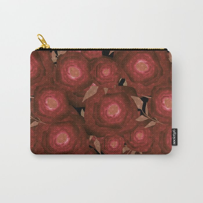 Retro decor. Red flowers . Carry-All Pouch