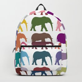 Colorful Elephants - Pink Purple Green Blue Backpack