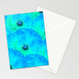 Poppies in turquoise Stationery Cards