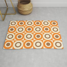 Mid Century Square and Circle Pattern 541 Orange and Brown Rug