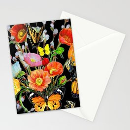 Black Butterfly Bouquet  Stationery Cards