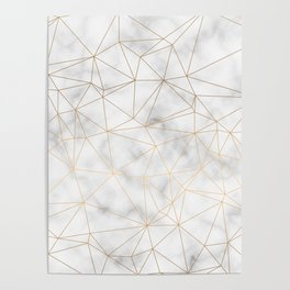 Marble Gold Geometric Texture Poster