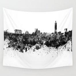 Taipei skyline in black watercolor Wall Tapestry