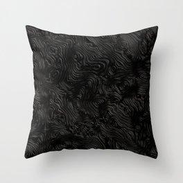Black Silk Moire Pattern Throw Pillow